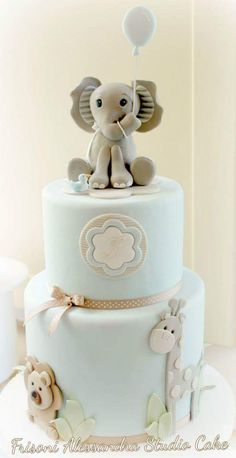 Baby Blue & Brown Zoo Animal Cake with Elephant Topper