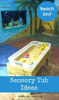 camping ideas for preschool, beach crafts for toddlers, sensory tubs, beach theme preschool, beach activities for toddlers