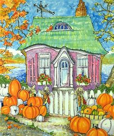 """Daily Paintworks - """"Purveyors of Perfect Pumpkins Storybook Cottage Series"""" - Original Fine Art for Sale - © Alida Akers"""