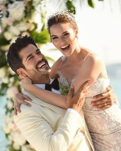 "Burak Ozcivit and Fahriye Evcen got married in Sait Halim Pasha Mansion, Istanbul on June photo makes me so happy.If you ever watch ""Lovebird"" you will know why.two sweeties in love. Wedding Ideias, Actrices Hollywood, Turkish Actors, Beautiful Couple, Beautiful Moments, Baby Photos, Couple Goals, Cute Couples, Actors & Actresses"