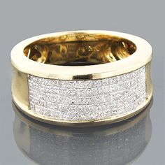 This dazzling Gold Princess Cut Diamond Mens Wedding Ring weighs approximately 7 grams and showcases ctw of sparkling invisibly set diamonds. Featuring a simple yet luxurious design and a highly polished gold finish, this fantastic men's diamond Wedding Ring Styles, Wedding Rings Simple, Beautiful Wedding Rings, Custom Wedding Rings, Diamond Wedding Rings, Mens Gold Diamond Rings, Gold Ring, Mens Diamond Wedding Bands, The Bling Ring
