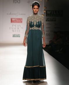 Peacock Green Dress with Sequins & Embroidery