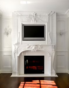 elaborate trim detail around fireplace and mantel surround. must create this in my new space… - Decorista Daydreams