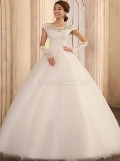 Great Ball Gown Short Sleeves Floor Length Wedding Dress 10522443 - Lace Wedding Dresses - Dresswe.Com