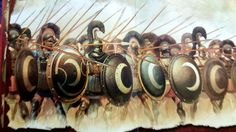 The 700 Thespians phalanx at the Thermopylae battle. The crescent in their shields, is the emblem of goddes Artemis (latin : Diana)