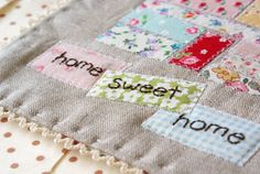 Linen patchwork plus embroidery