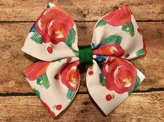 Watercolor Red Rose Floral Bow