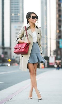 Gray dropped hem skirt. Red quilted bag. #wendyslookbook