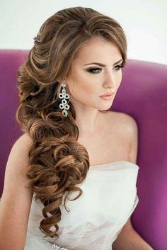 Side curls wedding hairstyle half up do