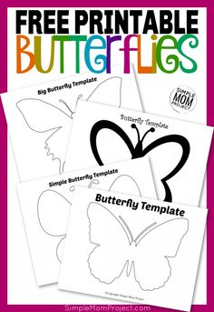 Use these free printable butterfly templates for your DIY butterfly crafts, butterfly coloring pages, or just to have an awesome monarch butterfly design! Butterfly Stencil, Butterfly Cutout, Butterfly Outline, Simple Butterfly, Butterfly Template, Printable Butterfly, Butterfly Pattern, Monarch Butterfly, Butterfly Design