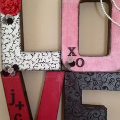 Chipboard letters. Scrapbook paper. Decoupage.