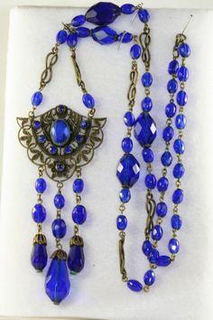 RARE VTG CZECH ART DECO ANTIQUE CZECH COBALT BLUE GLASS NECKLACE C. 1920