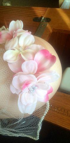 Sakura Pink and Ivory Veil Fascinator Wedding Veil