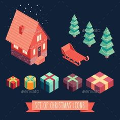 Isometric Christmas Merry Christmas New Year