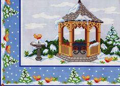 ru / Фото - A punto croce 27 - Los-ku-tik Christmas Scenes, Christmas Cross, Winter Christmas, Xmas, Cross Stitch Charts, Cross Stitch Patterns, Gazebo, Cross Stitch Flowers, Holidays And Events