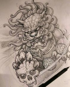Are tattoo drawings one thing that you just wish to do? Neue Tattoos, Dog Tattoos, Body Art Tattoos, Sleeve Tattoos, Foo Dog Tattoo Design, Tattoo Design Drawings, Tattoo Sketches, Dog Drawings, Japanese Tattoo Art