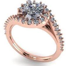 Bypass halo engagement ring. Rose gold.  #seneedhamjewelers #loganutah 110052A