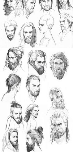 Male character studies, graphite sketches, illustration.