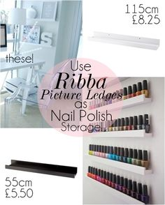 10 DIY Makeup Storage Ideas (Brilliant I've been looking for a good diy nail polish rack! FOUND IT!!!!!!)