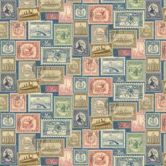 Vintage Travel Postage Stamps on Blue Cotton Fabric by Deborah Edwards for Northcott Studio per Fat Quarter per metre