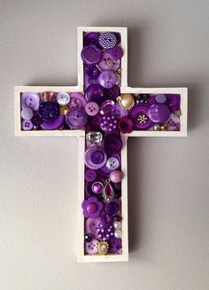 Handmade Radient Orchid, purple mosaic cross