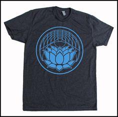 Men's Geometric Lotus Screen Printed Shirt Golden Ratio Sacred Geometry Soft Grey Blue
