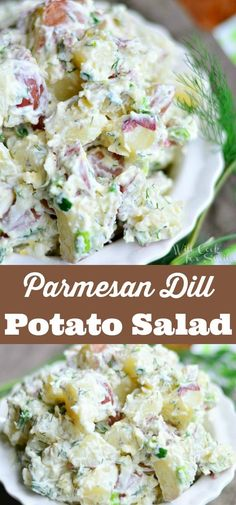 Parmesan Dill Potato Salad - creamy potato salad recipe made with red potatoes, shaved Parmesan cheese, fresh dill weed, and a touch of lemon zest. #potato #salad #sidedish #barbecue #potluck