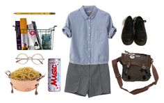 """""""after tiring day at school"""" by pallo ❤ liked on Polyvore featuring Care Label, Margaret Howell, Dr. Martens, Dixon Ticonderoga, women's clothing, women's fashion, women, female, woman and misses"""