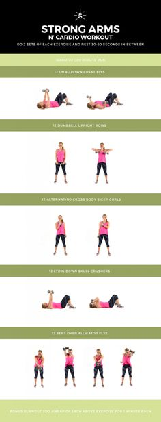 Strong Arms and Cardio Workout - This workout mixes upper body and cardio for a killer combo workout! Do two sets of each exercise and rest 30-60 seconds in between. If you're not breathless, up your weights!
