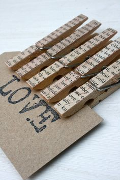 Vintage style pegs decorated with pages from old books. £4.00, via Etsy.