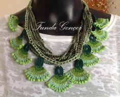 … – Women's Here Textile Jewelry, Fabric Jewelry, Crochet Accessories, Women Accessories, Women's Earrings, Crochet Earrings, Teen Necklaces, Diy Necklace, Crochet Patterns