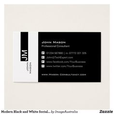 Social media icons symbols business card pinterest social media modern black and white social media business card reheart Gallery