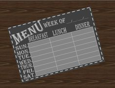 Weekly meal planner, chalkboard theme A lot of other home organizing downloads available!
