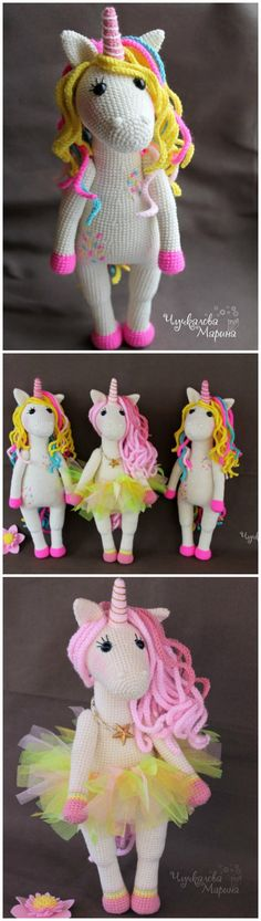 Sweet crochet unicorn pattern. Great details on this crochet unicorn. My grand daughter is going to LOVE this doll, she's crazy for unicorns.