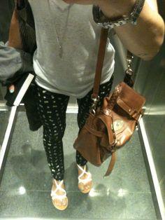 cherries pants and Alexa oversized Mulberry bag