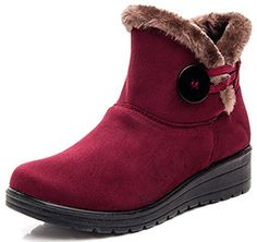DADAWEN Womens Bailey Button Suede Wedge Winter Boots Red US Size 6 * Learn more by visiting the image link.(This is an Amazon affiliate link and I receive a commission for the sales)