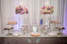 The Dessert Table And Decorations At This Elegant Masquerade Sweet 16 Birthday Party Are Fabulous