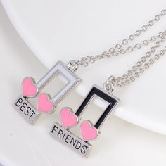 Elegant Musical Notes Hearts Shaped Necklaces Best Friends Pendant For Girlfriends Witness Love Forever Fashion Jewelry 2Pcs/Lot