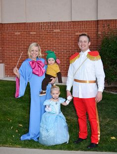 """Fairy Godmother, Gus Gus, Cinderella, and Prince Charming Family Costume. #halloween #familycostume #DIY"""