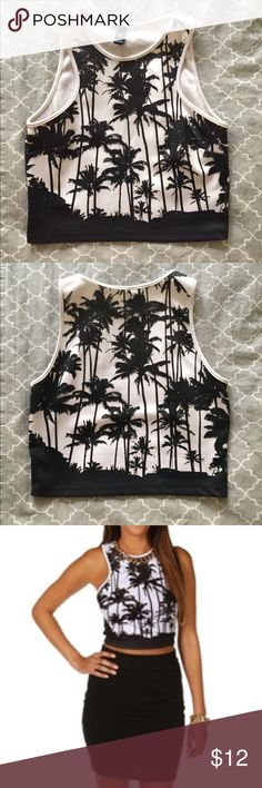 Windsor Palm Tree Crop Top Size S Only worn twice, looks brand new. WINDSOR Tops Crop Tops