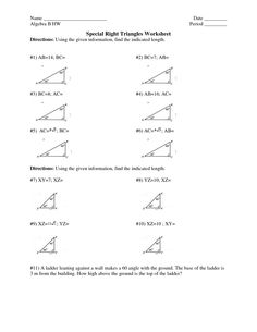 Worksheet Special Right Triangles Worksheet special right triangle worksheet fireyourmentor free printable geometry triangles answers