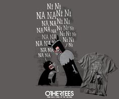 """THE KNIGHTS WHO SAY..."" by QUEENMOB T-shirts, Tank Tops, V-necks, Hoodies and Sweatshirts are on sale until November 4th at www.OtherTees.com #tshirt #othertees #clothes #popculture #montypython #funny #britishhumour #batman #dccomics #dc"