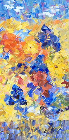 """Blooms of Summer by Judith Babcock Oil ~ 24"""" x 12"""""""