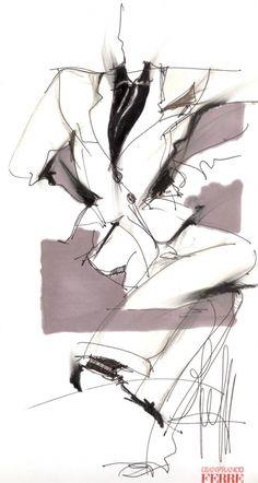 Fondazione Gianfranco Ferré / Collections / Man / Prêt-à-Porter / 1995 / Spring / Summer Fashion Design Portfolio, Fashion Design Sketches, Fashion Illustration Sketches, Fashion Sketchbook, Clothing Sketches, Gianfranco Ferre, Ferrat, Mode Editorials, Contemporary Fashion
