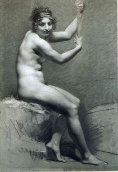 Drawing of Female Nude with charcoal and chalk - Pierre-Paul Prud'hon