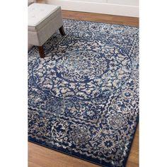 Transitional Rug Blue & Gray High Quality Carpet Nylon