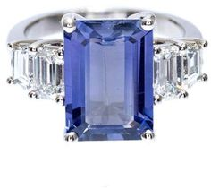 Vintage Platinum with Natural Emerald Cut Sapphire & Diamond Ring Size 6.5. Sapphire jewelry. I'm an affiliate marketer. When you click on a link or buy from the retailer, I earn a commission.