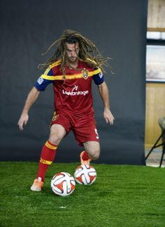 Real Salt Lake Kyle Beckerman goes before the cameras  for an action portrait