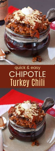 Quick and Easy Chipotle Turkey Chili - a 30-minute chili recipe that tastes like it cooked all day. Comfort food that is also healthy and gluten free.