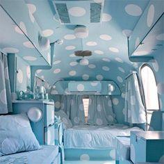 blue polka dots camper